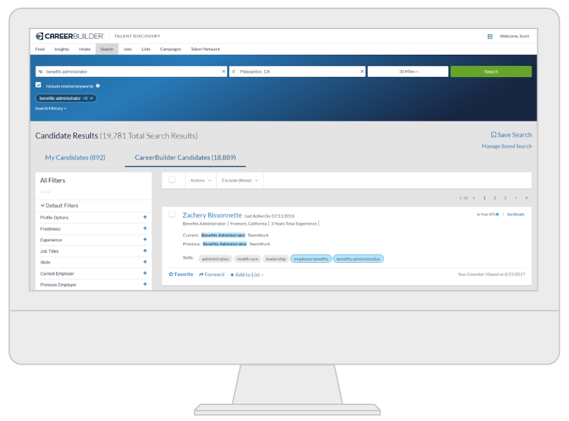 CareerBuilder Talent Discovery Product Screenshot  Careerbuilder Resume Search