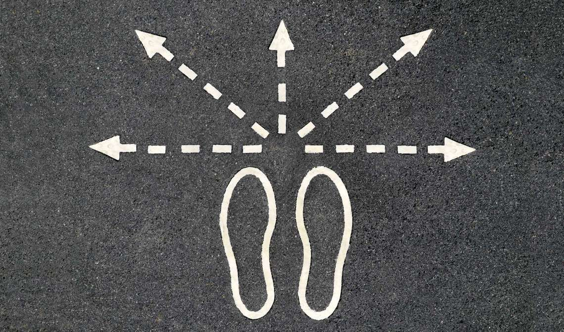Footsteps in different career paths