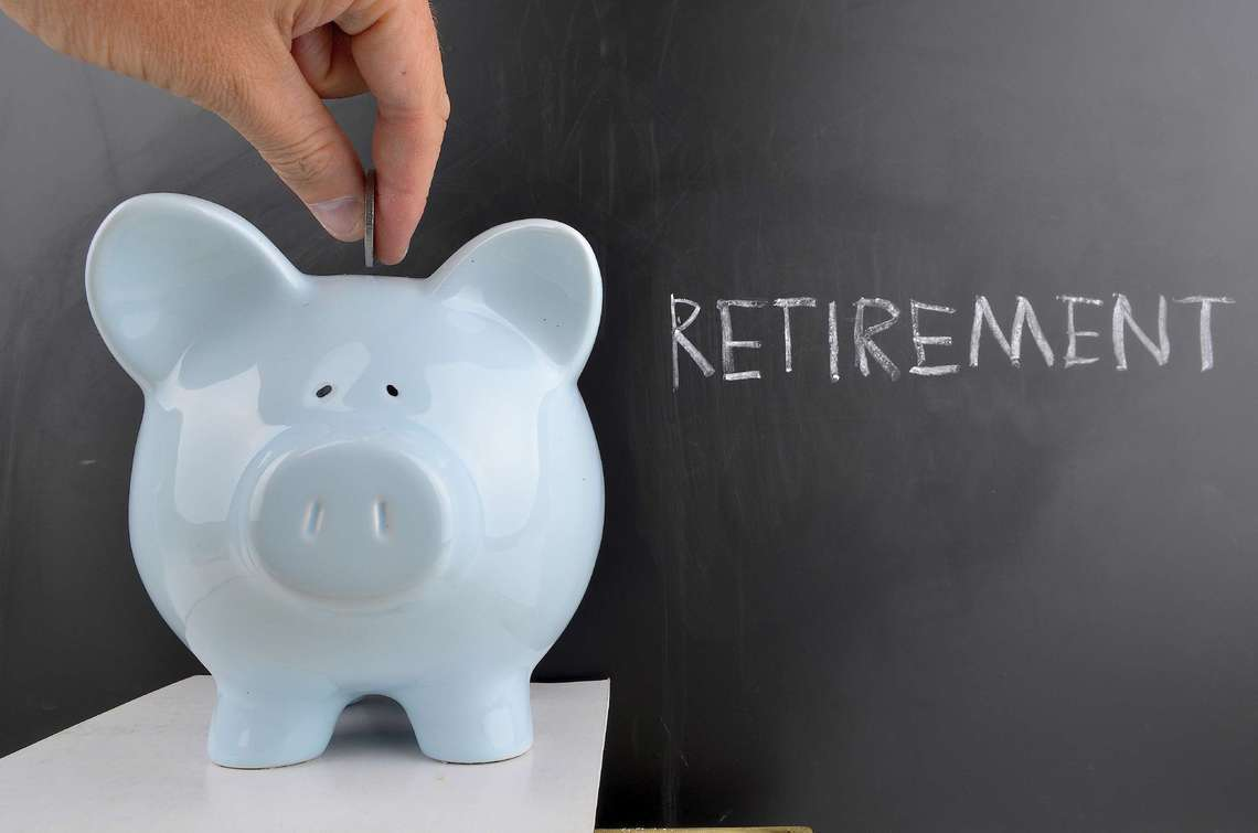 Retirement planning piggy bank.