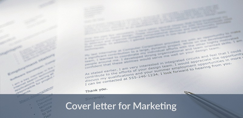 sample cover letter for marketing managers