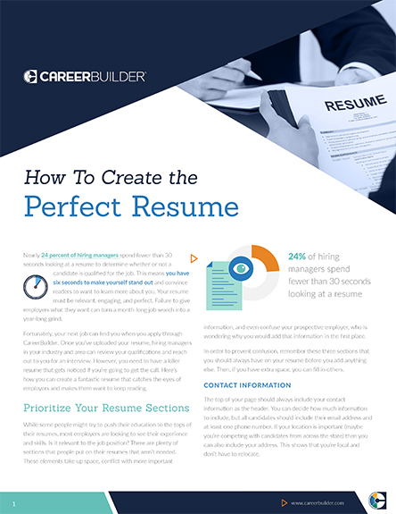 there may not be a perfect recipe for most things in life but with a little guidance and refinement you can create the perfect resume - Career Builders Resume