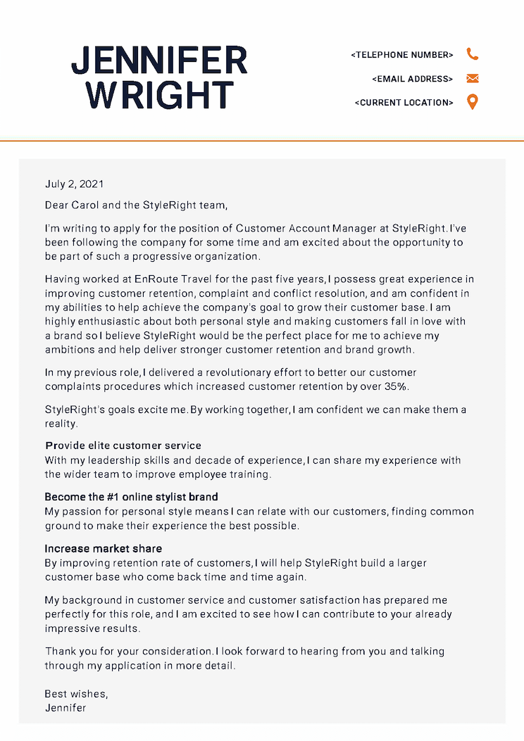 Example cover letter printed on stationary, to be used as a template for job seekers.