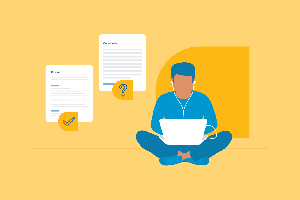 Job seeker writing a cover letter on a laptop, illustration graphic on a yellow background.